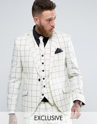 Heart And Dagger Skinny Blazer In Wool Check White