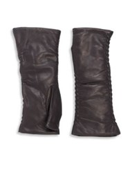 Saks Fifth Avenue Silk Lined Leather Opera Gloves Grey