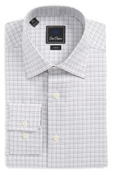 David Donahue Men's Big And Tall Trim Fit Check Dress Shirt White Grey