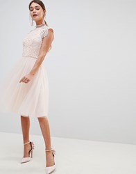 Chi Chi London Cap Sleeve Lace 2 In 1 Midi Dress With Tulle Skirt Pink