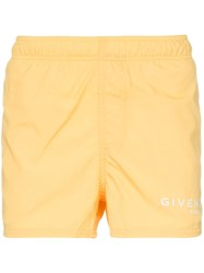 Givenchy Logo Print Swim Shorts Yellow