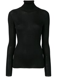 Tom Ford Ribbed Roll Neck Pullover Women Silk M Black