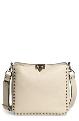Valentino Small Rockstud Leather Hobo White Light Ivory