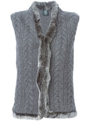 Eleventy Rabbit Fur Trim Sleeveless Cardigan Grey