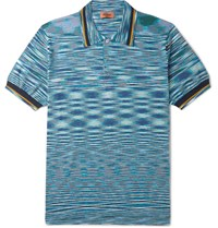 Missoni Space Dyed Knitted Cotton Polo Shirt Blue