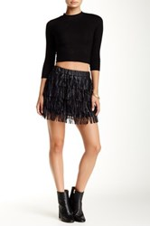 Ontwelfth Vegan Faux Leather Tiered Fringe Mini Skirt Black