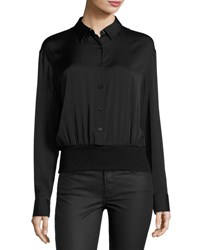 Dkny Long Sleeve Stretch Silk Pullover Shirt Black