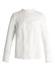 Rebecca Taylor Lace Trimmed Stretch Silk Blouse White