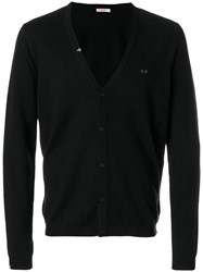 Sun 68 Logo Embroidered Cardigan Cotton Wool M Black