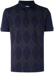 Ballantyne Diamond Patterned Polo Shirt Men Cotton S Blue