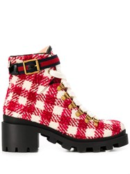 Gucci Block Heel Checked Boots White
