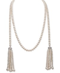 Belle De Mer White Cultured Freshwater Pearl 4 7Mm And Cubic Zirconia Tasseled Long Strand Necklace Silver