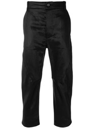 Cedric Jacquemyn Cropped Waxed Trousers Black