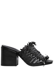 Strategia 80Mm Fringed Woven Leather Mules Black