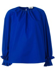 Fendi Ruffled Oversized Blouse Blue