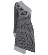Burberry Cable Knit Wool Blend Dress Grey