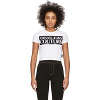 Versace Jeans Couture White Logo Cropped T Shirt