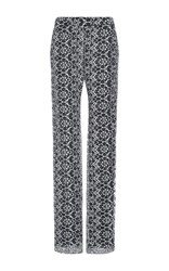 Preen By Thornton Bregazzi Kiren Lace Print Straight Legged Pants Ivory