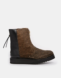 Ymc Leather Zip Back Ankle Boots Houndstooth