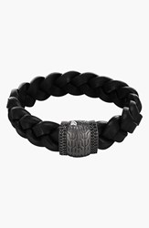John Hardy Men's 'Classic Chain Lava' Black Sapphire And Leather Bracelet