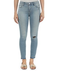 Articles Of Society Carly Skinny Crop Distressed Raw Hem Jeans Blue