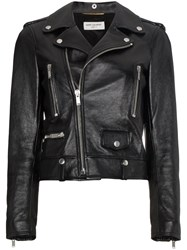 Saint Laurent Leather Biker Jacket Cotton Calf Leather Polyester Cupro Black