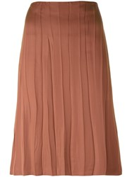 Nina Ricci Pleated Midi Skirt Brown