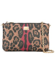 Dolce And Gabbana Leopard Print Crossbody Bag Blue
