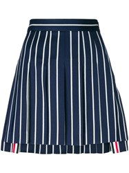 Thom Browne Striped Pleated Mini Skirt Blue