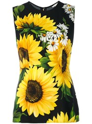 Dolce And Gabbana Sunflower Print Tank Top Women Viscose 38 Black