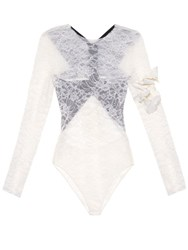 Preen Varlese Contrast Back Lace Body White Black