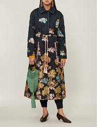 Peter Pilotto Metallic Fig Tree Embroidered Quilted Jacquard Coat Navy