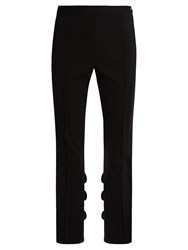 Toga Ruffled Slim Leg Cotton Blend Trousers Black