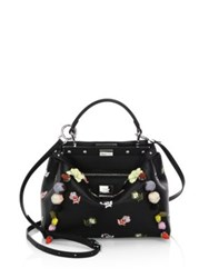 Fendi Peekaboo Mini Embellished Floral Embroidered Leather Satchel Black Multi