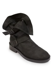 Ann Demeulemeester Fold Over Leather Buckle Boots Black