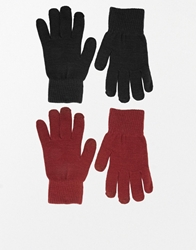 Asos 2 Pack Gloves With Touch Screen Blackandburgundy