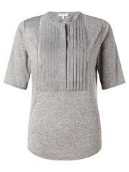 Jigsaw Stripe Pleat Top Light Grey