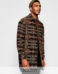 Reclaimed Vintage Aztec Cocoon Coat Black