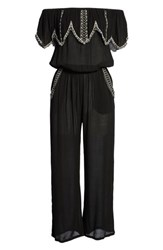O'neill Malaga Embroidered Off The Shoulder Jumpsuit Black