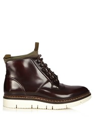 Oamc Leather And Neoprene Compression Ankle Boots Dark Brown