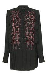 Marco De Vincenzo Satin Bow Embellished Button Up Shirt Black