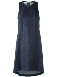 Brunello Cucinelli Frayed Neck Dress Blue