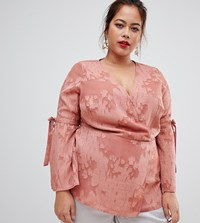 Lovedrobe Wrap Front Blouse In Rose Red