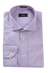 Alara Classic Houndstooth Plaid Dress Shirt Purple
