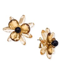 Kate Spade New York Gold Tone Blooming Brilliant Statement Stud Earrings Neutral Multi