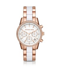 Michael Kors Ritz Pave Rose Gold Tone And Acetate Watch