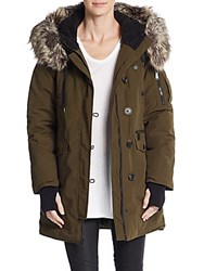 Bcbgeneration Winter Faux Fur Trimmed Parka Army