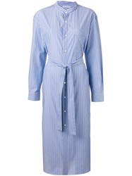 Cristaseya Maxi Mao Striped Shirt Dress Women Cotton L Blue