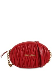 Miu Miu Oval Matelasse Leather Shoulder Bag Fuoco