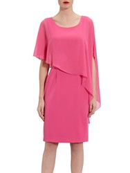 Gina Bacconi Moss Crepe Dress And Chiffon Cape Pink